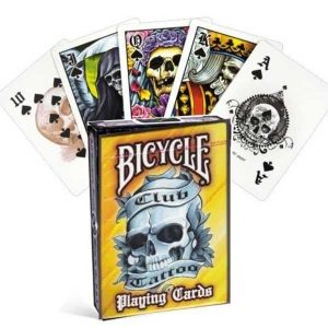 Club tattoo playing cards yellow