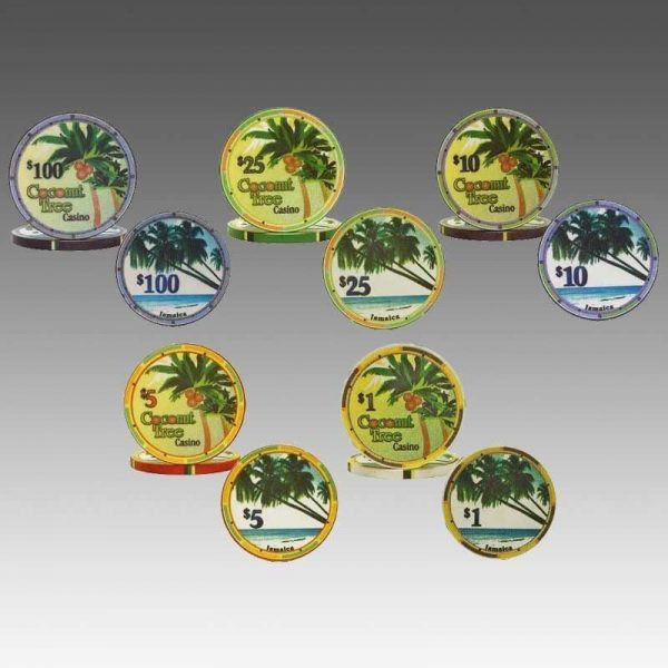 Coconut Tree Casino Ceramic Poker Chips