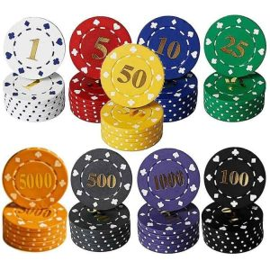 suited numbered poker chips
